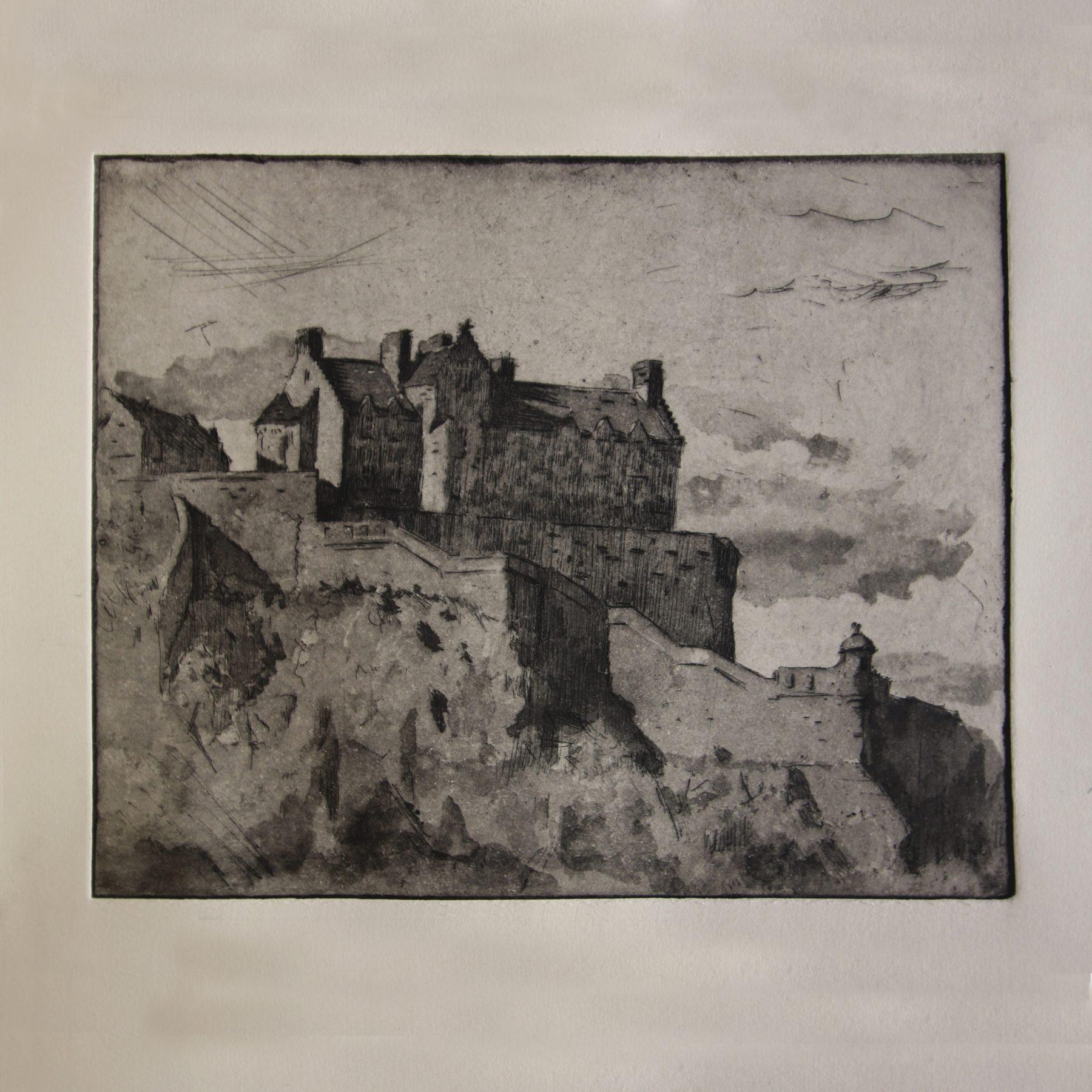 scotland, castle, landscape, cityscape, etching, copper plate, aquatint, tonal, copper, printmaking